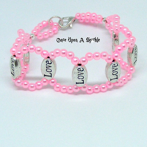 Pink Circle Bracelet with Love