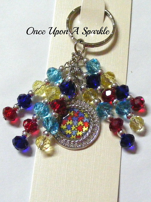 autism jigsaw pendant with colourful sparkly bead lengths
