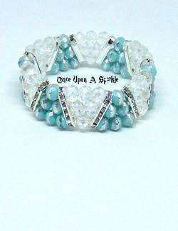 Bracelet stretch triangle aqua & silver with clear