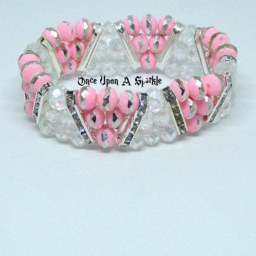 Pink & White Triangle Stretch Bracelet