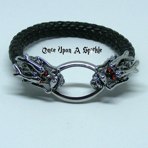 Black Leather Braided Bracelet with Double Dragon Red Eyes