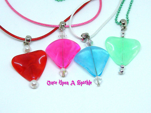 Acrylic triangle wave bead on cord necklace