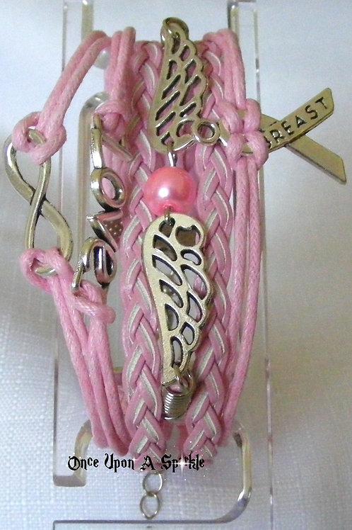 Bracelet - Leather Multiple Pale Pink Breast Cancer