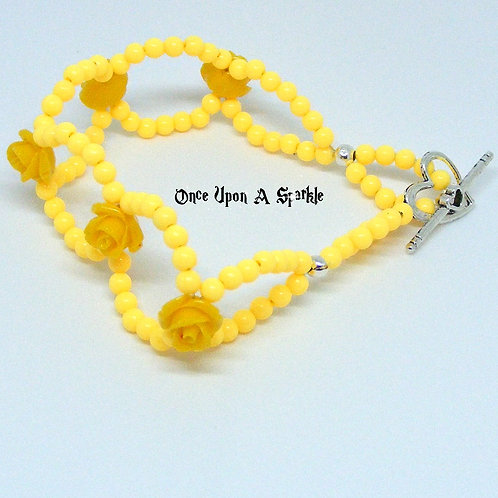 Yellow Circle Bracelet with Roses