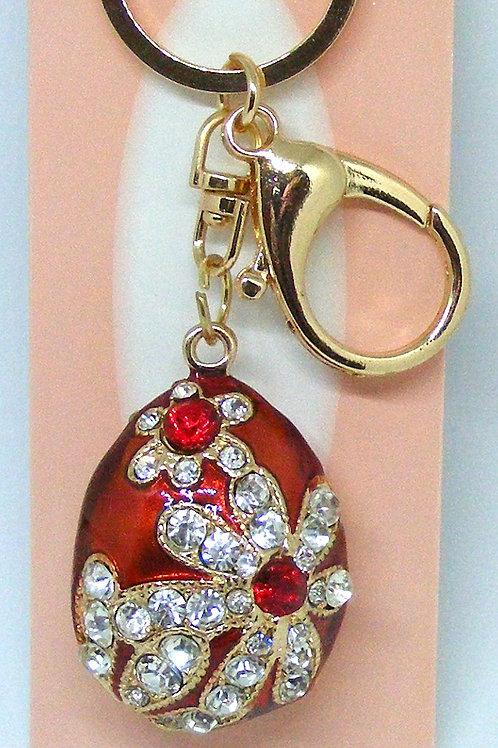 Red Enamel Egg Floral Design Gold Plated Key Ring