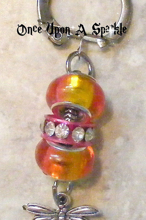 orange & pink beads with antique silver dragonfly charm