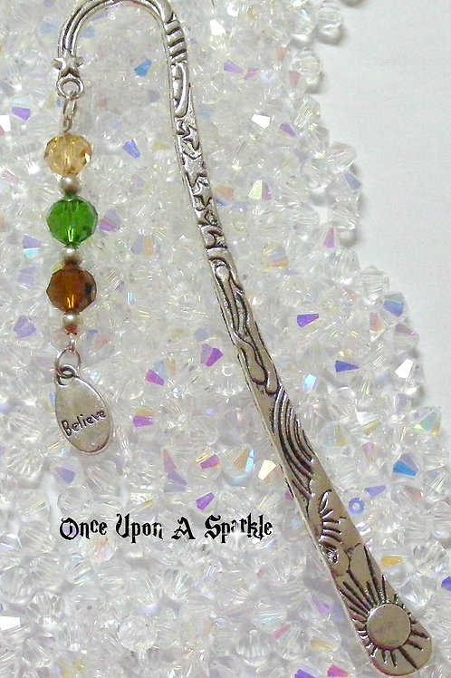 antique silver bookmark believe yellow green brown