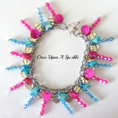sparkly hot pink and aqua beads with antique silver best friend charms