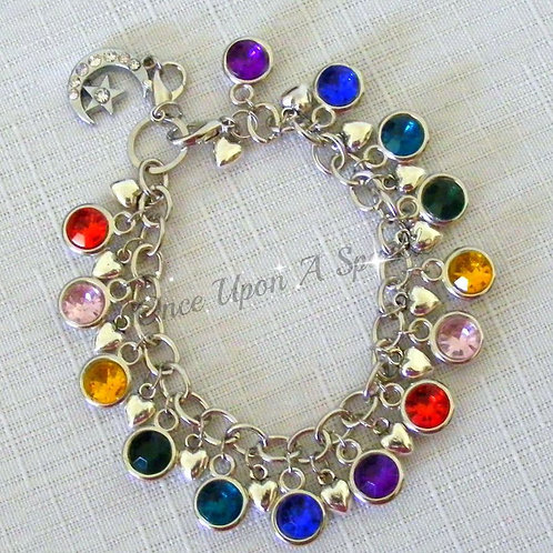 multi-coloured gems with heart charms