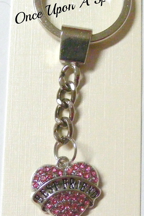 """pink sparkly crystal heart with """"best friend"""" inscription"""