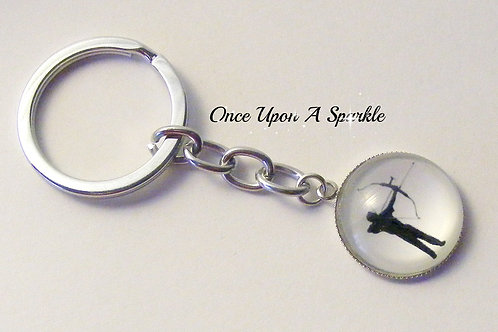 Archery Key Ring with shadow of man