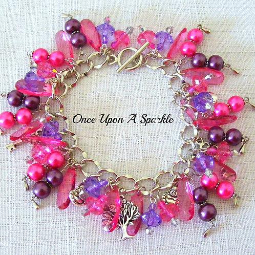 beaded sparkly jewellery pink purple buddah tree of knowledge