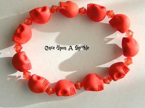 Bracelet - Stretch Red Fluro Skulls