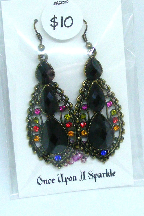 Triple tear drop black rhinestone earrings