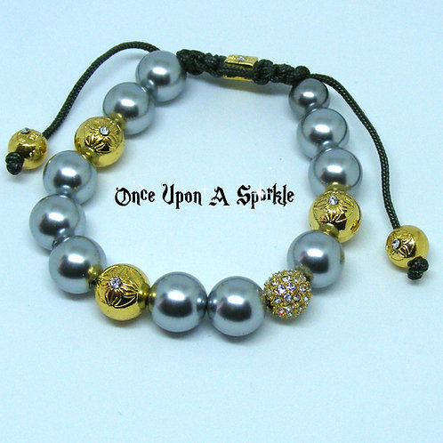 Grey and Gold beads on black cord