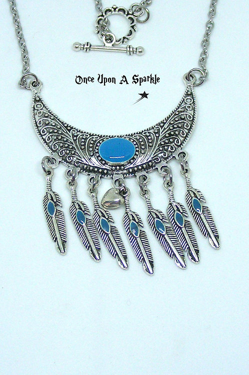 Half Moon with blue and feathers Necklace