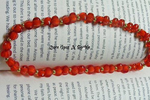 elastic bookmark red acrylic beads