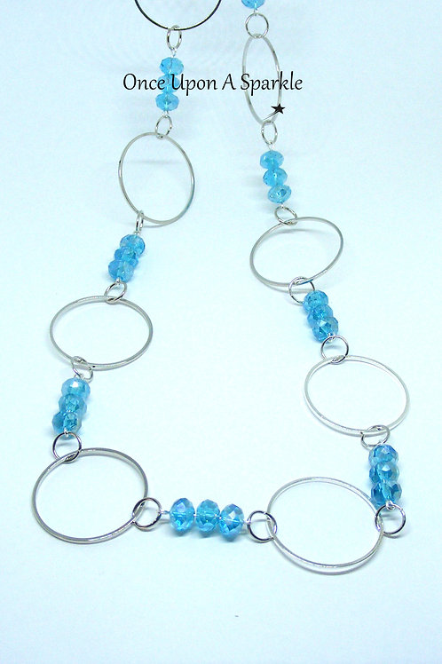 Aqua & Big Circle Long Necklace