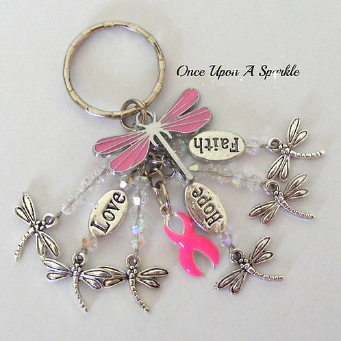 breast cancer awareness faith love hope silver dragonflies