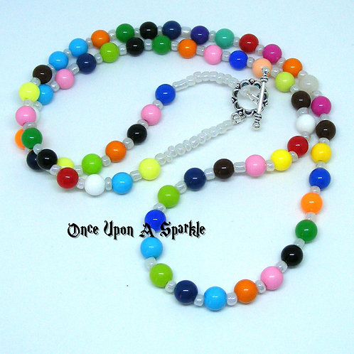 Colourful smooth round acrylic beads with seed spacers