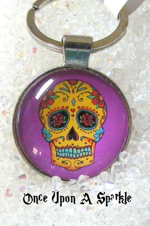 purple sugar skull pendant key ring