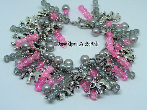 Charm Bracelet with Elephants and pink and grey beads