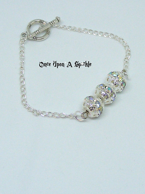 Silver Plated Chain Bracelet with Sparkling Filigree Beads