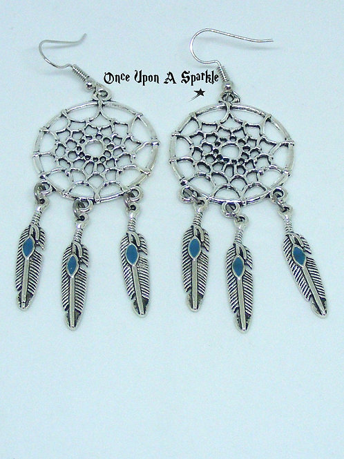 Dreamcatcher Blue Feather Earrings