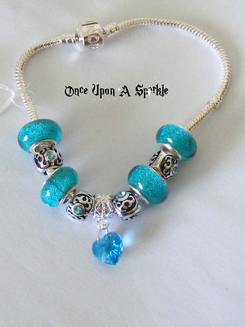 Bracelet - Aqua Snake aqua heart pendant