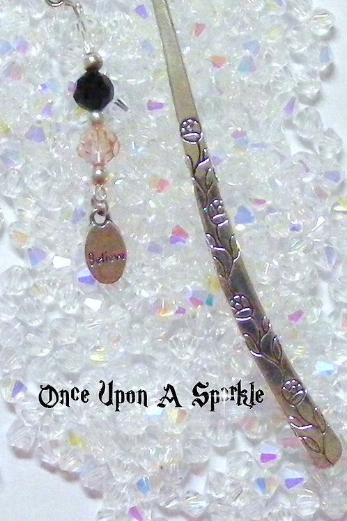 antique silver bookmark believe clear amethyst pink