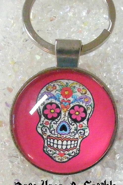 hot pink sugar skull pendant key ring