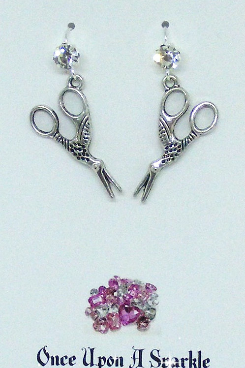 Rhinestone Hook Earrings with Bird Scissors