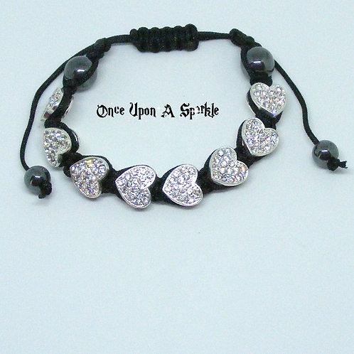 8 Clear Crystal Heart Shamballa Bracelet