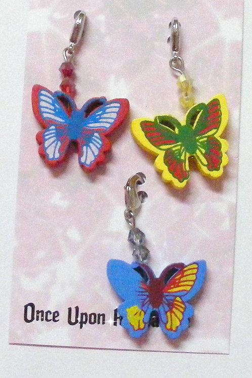 Zipper Pulls - 3 Butterflies red yellow blue
