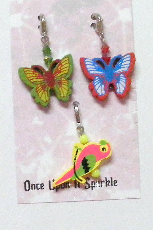 Zipper Pulls - 2 Butterflies 1 Parrot yellow
