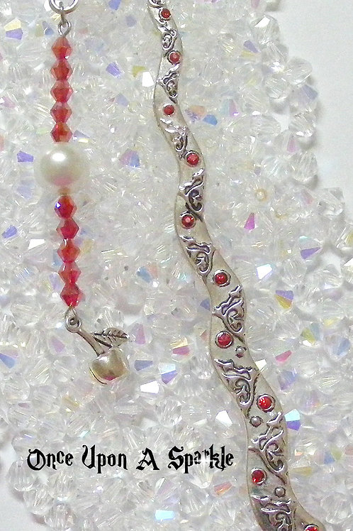 antique silver bookmark red crystals with apple