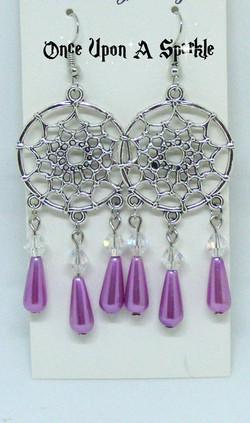 Earrings dreamcatchers purple tear drop