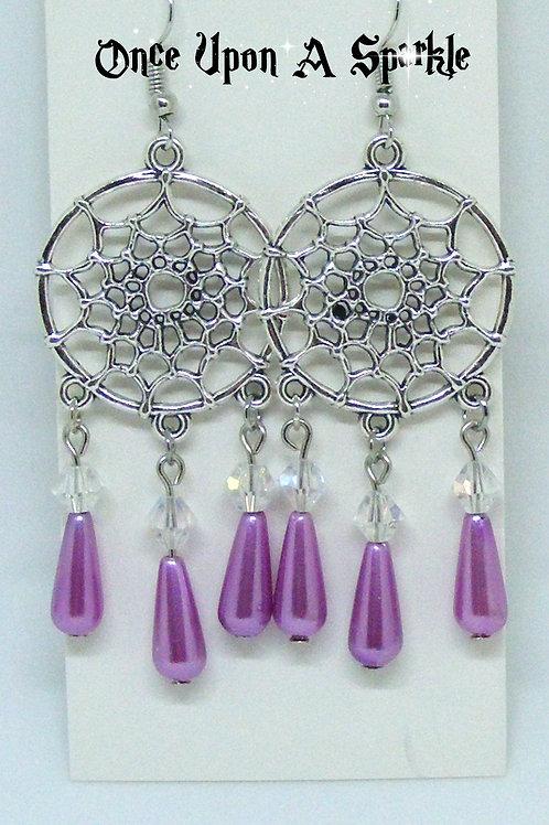 Dreamcatcher Earrings Purple Teardrops