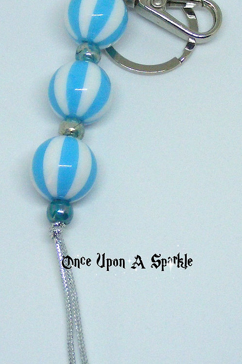Blue Striped Bag Dangle with key ring