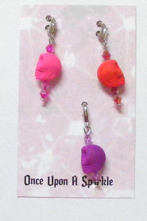 Zipper Pulls Fluro skulls pink red purple
