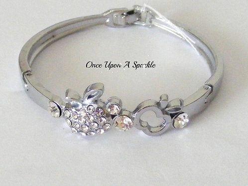 Bracelet - Silver Bangle with Apple Rhinestones