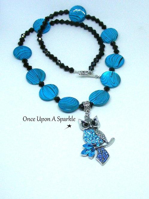 Aqua Shell with Aqua Owl Necklace