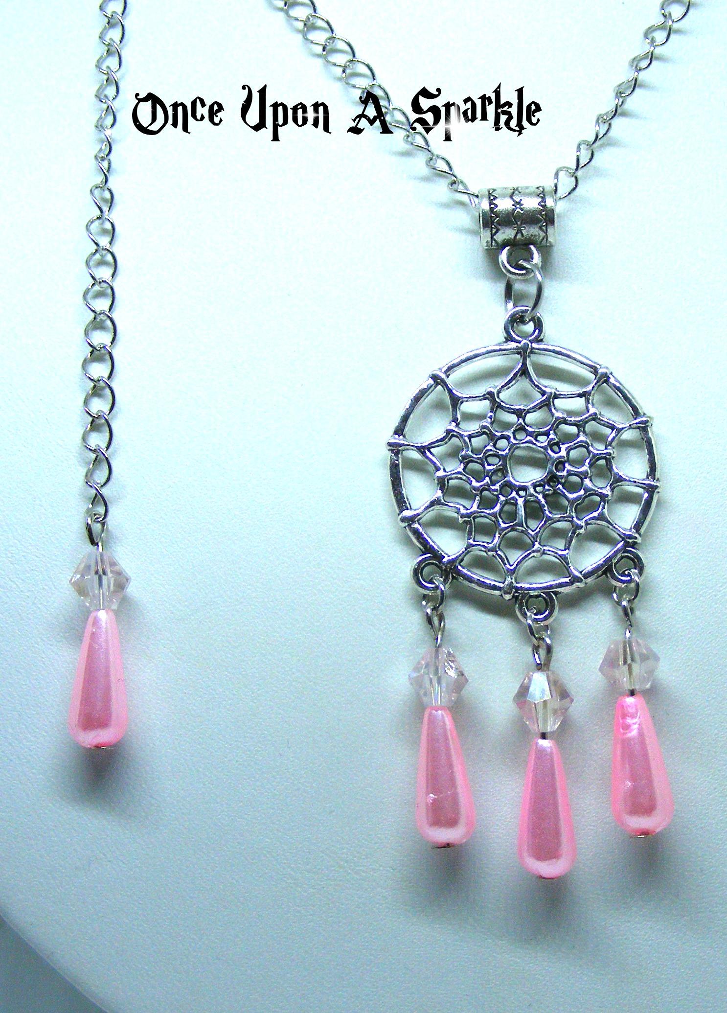 Necklace dreamcatcher pink pearl teardrops