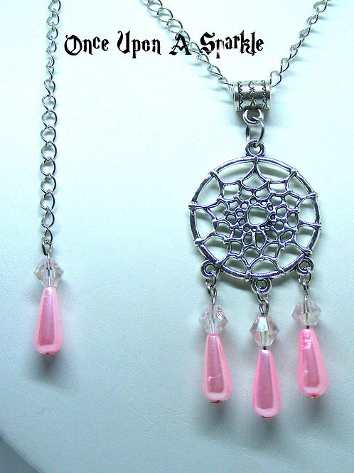 Dreamcatcher necklace with pink teardrops and back dangle