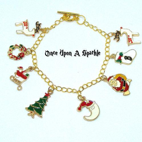 gold toned enamel Christmas Charm Bracelet