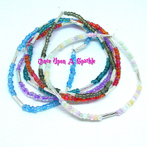 Seed bead & twisted silver tube stretch bracelets