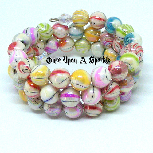 colourful pastel swirl pattern bead wrap