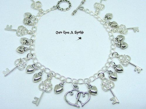 Silver Key & Heart Charm Bracelet