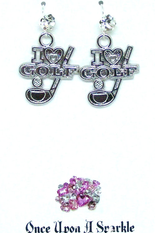 Hook Earrings I love Golf with large rhinestones