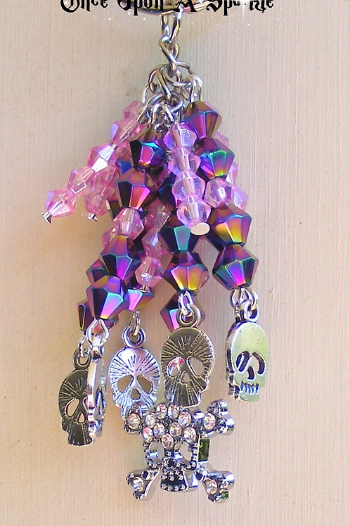 pinks & purples silver skulls with rhinestone sparkly skull